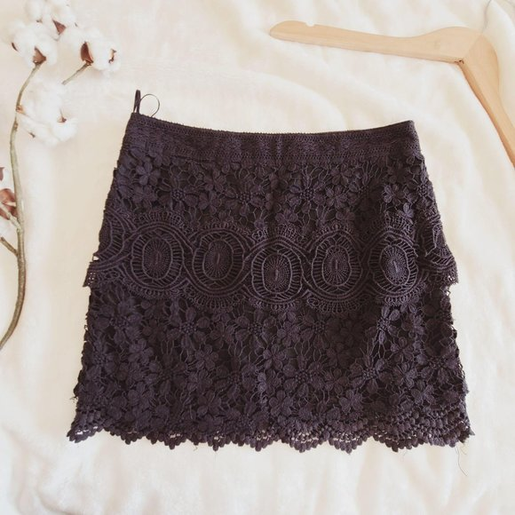 Free People Crochet Lace Scallop Mini Skirt Black